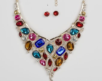 Rhinestone Bib Necklace ''STATEMENT NECKLACE'' Mega Statement Necklace Crystal Necklace Rhinestone Dramatic Necklace Burlesque Necklace