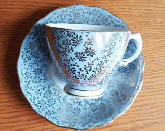 Colclough , 7542, Gray with Gold, Bone China, Tea Cup and Saucer, Made in England, tea cups, drink  ware,English tea cup, tea cups