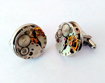 Steampunk Cuff links Pair of Vintage Watch Movement Cuff Links Stainless Steel Bezel Mens Cuff links