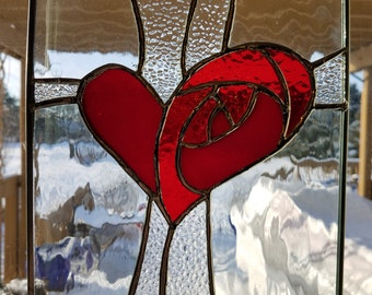 Stained glass heart panel