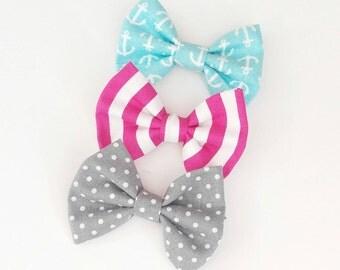 Bow set. Anchor, stripes, polkadot