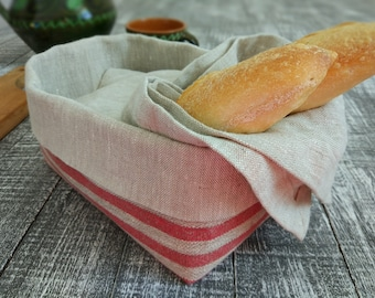 Set of linen basket with linen napkin, Bread basket, Linen bread basket, Fabric basket.