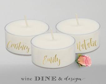 Personalized Tea Light Wedding Place Cards Bridal Shower Place Cards Favor