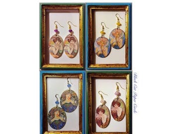 Mucha-Art Nouveau earrings handcrafted wooden handmade decoupage art