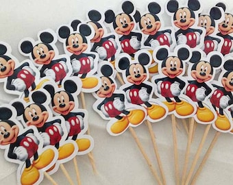 Mickey Mouse Cupcake Toppers with Stick Topper with stick Set of 18 Custom Made
