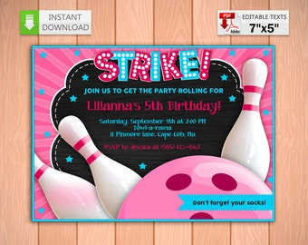 Printable invitation Bowling party pink in PDF with Editable Texts, Bowling party for girl Invitation, edit and print yourself!