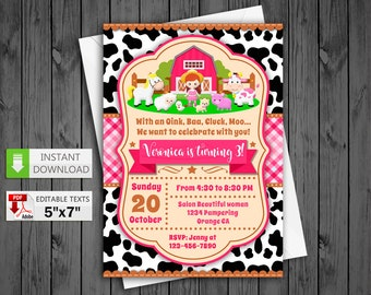 Printable invitation Farm Girl party in PDF with Editable Texts, Farm Girl pink birthday Invitation chalkboard, edit and print yourself!