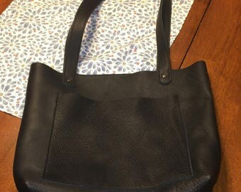 Leather Purse / Tote Bag - Amish Handmade - Black - Large, Handles, Front Pocket - Made in USA