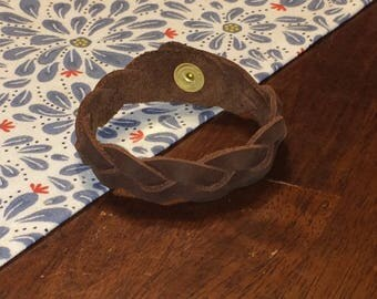 Set of 3 Braided Leather Bracelets  - Free Shipping - Amish Handmade - Brown