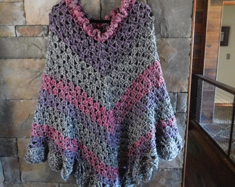 Hand Crocheted Scalloped Edged Poncho, Purple/Gray/Dark Pink