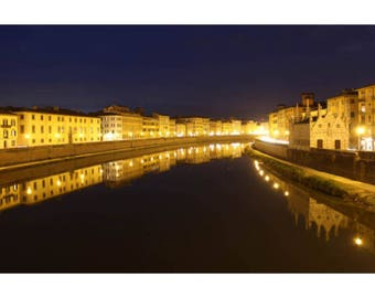 Pisa on the Arno River in Italy photographed at night - digital download