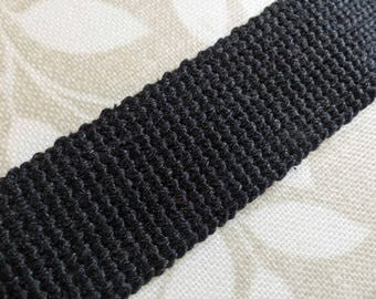 Cotton Webbing - Black - 1m length x 30mm wide