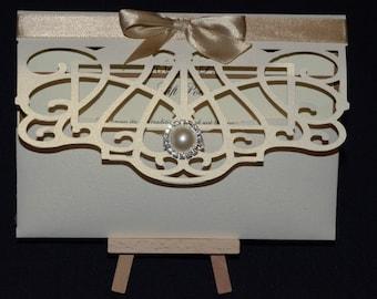 Handmade pocket folder wedding invitations