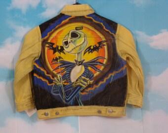 Veste jean jaune délavé, veste en jean Kid Motif Mr Jack peint main Taille 3 ans Liberto