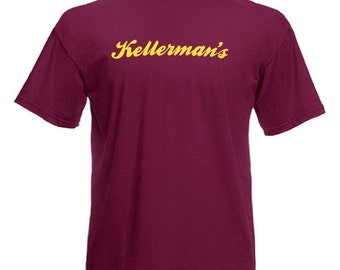 KELLERMANS Standard Fit Burgundy T-Shirt with Yellow Print NEW All Sizes