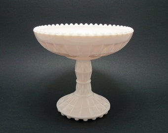 Vintage Jeannette Shell Pink Milk Glass Compote, Milk Glass Compote, Hobnail Milk Glass, Milk Glass Compote, Jeannette Glass, Candy Dish