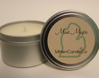 Mint Mojito Scented Soy Candle Tin or Wax Melt - Spring & Summer Fresh Scent - 4 or 8 ounce