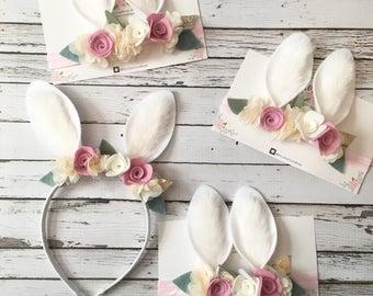 Bunny Ears Headband, Bunny Costume, Bunny Headband , Baby Bunny Ears , Easter Headband, Rabbit Headband, Floral Crown