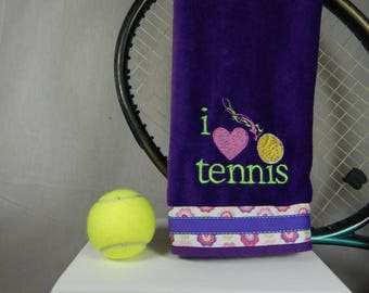 Purple I love Tennis Towel