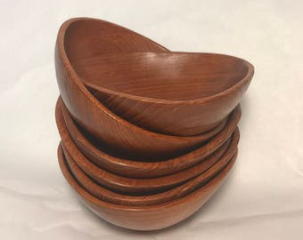 Vintage Handmade Wooden Bowl Set