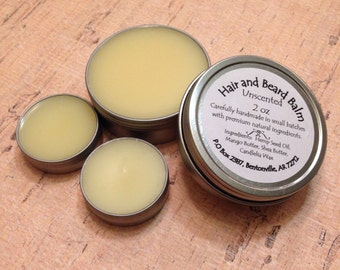 Natural Hair and Beard Balm Unscented Essential oil mango butter shea hemp seed candlelia wax full travel size gel pomade