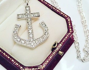 Vintage Anchor Pendant Necklace, Nautical Necklace, Silver Tone Anchor Pendant On Chain, Anchor Necklace, Gift For Her.