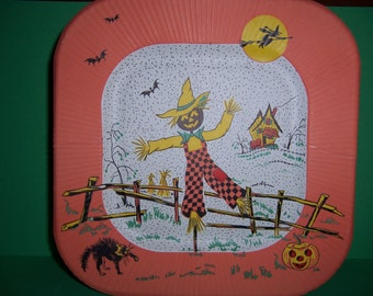 Vintage Halloween Paper Plate, 1950's, with Pumpkin, Scarecrow, Witch, Bats, Cat and Jack-O-Lantern, Reed's
