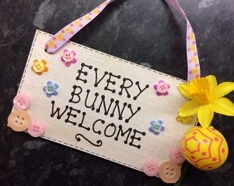 Easter Wooden Hanging 'Every Bunny Welcome'