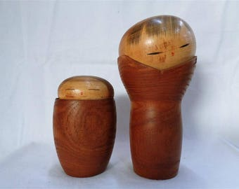 Vintage Japanese Pair of Sosaku Kokeshi dolls