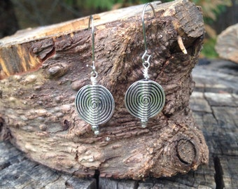 Silver spiral circle drop earrings