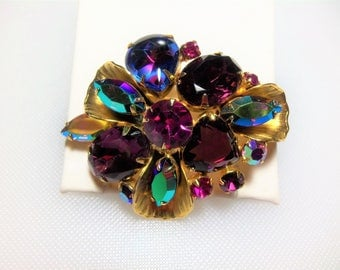 Juliana/D&E Gold Tone Metal Leaf Accent Purple and Pink Rhinestone Pin Brooch