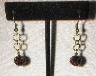 Garnet, antique gold, circle earrings