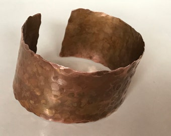 Wide Hammered Copper Cuff Bracelet
