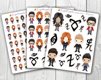 Shadowhunters Stickers, Mortal Instruments, Runes, Malec, Jace, Clary,  Kawaii, Cute Stickers, Planner Stickers, Pretty,  Erin Condren, ECLP