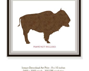 Instant Download, 8x10 inch, Silhouette Brown Buffalo Poster Art Printable Room Decor, Minimalist Wall Decor