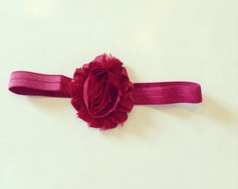 Shabby flower, maroon, baby headband, toddler, hair accessory, vintage flower