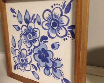Handpainted wooden Delft tile blue and white square 6x6 - handpainted blue flowers sign