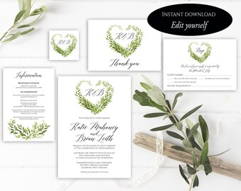 Heart Wedding Invitation Template, Heart Wedding Invitation, Invitation Suite Template, Editable Wedding Invite, Invitation Set, Pdf