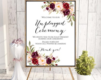 Unplugged Ceremony Sign, Unplugged Wedding Sign, Unplugged Sign, Marsala Sign, No Cameras Sign, No Cell Phone Sign, Printable Wedding Sign