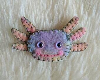 Axolotl Needle Felted Brooch