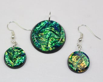 Brand New Handmade Faux Dichroic Green Glass Earrings and Pendant