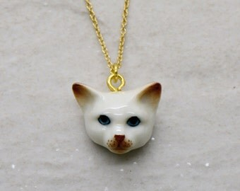Hand Painted Porcelain Cat Head Necklace, 18 Inch Chain, Vintage Style Cat, Ceramic Animal Pendant FREE DOMESTIC SHIPPING ()