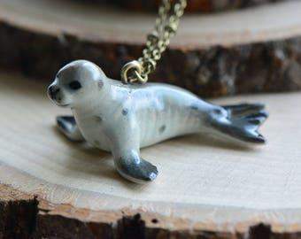 Hand Painted Porcelain Monk Seal Necklace, Antique Bronze Chain, Vintage Style, Ceramic Animal Pendant & Chain (CA100)