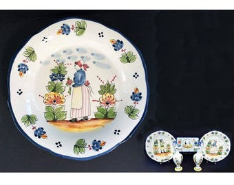 Hand Painted Vintage Quimper Ceramic Plate, from Brittany, France