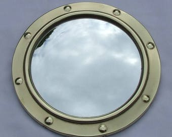 Vintage Art Deco Brass Porthole Style Circular Convex Mirror - Circa 1930's Fish Eye Domed Hanging Wall Mirror