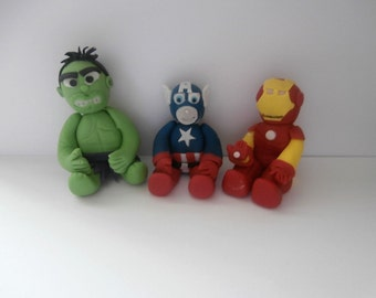 EEdible sugar paste 3 x Super Hero's,Hulk,Captain America,Iron man,Marvel,birthday cake topper,boy, girl , cake decoration