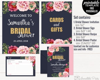 Watercolor Flowers Bridal Shower Set. Navy and Pink Bridal Shower Set. Bridal Shower Invitation. Bridal Shower Recipe. Bridal Shower Poster