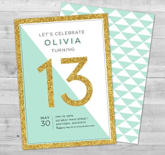 Sweet 16 Einladung, Teen Geburtstagseinladungen, 16. Geburtstageinladungen,  Sweet Sixteen Geburtstagseinladung, 13. Geburtstag, Gold Glitter