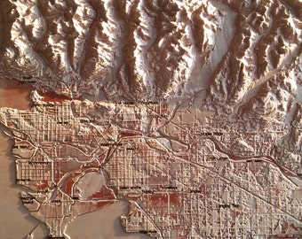 """3d map of Vancouver 18"""" x 42"""""""