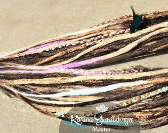 Soft Dreadlocks. Dreadlocks Ethno style. Set of double ended dreads. Synthetic dreads. Full set dreadlocks handmade. D.e.dreads.